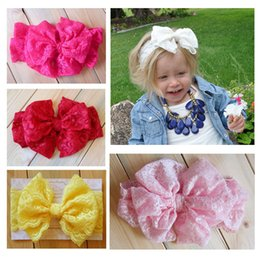 $enCountryForm.capitalKeyWord Australia - 2015 Baby girl Lace Big Bow Headband Stretch Lace Bow Headbands for girls baby Vintage Head Wrap headdress kids Hair Accessories 20pcs lot