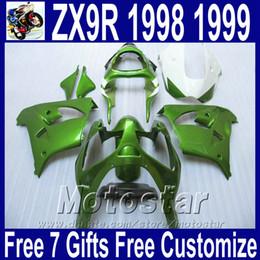 $enCountryForm.capitalKeyWord NZ - Motorcycle body kits for Kawasaki ZX9R fairings 1998 1999 ninja 98 99 ZX 9R all green plastic fairing kit SG28