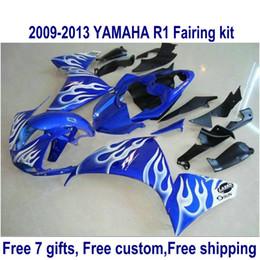 R1 11 Canada - 7 free gifts fairing kit for YAMAHA R1 2009-2013 white flames in blue fairings set YZF R1 09 10 11 12 13 HA54