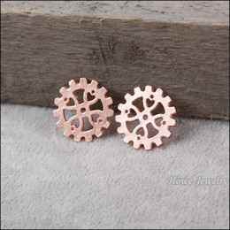 steampunk gears wholesale NZ - Steampunk Gear Fashion Charm Rose Gold metal wheel round spacer Watch Accessories gold zinc alloy finding 100 pcs lot 18*18mm 80090