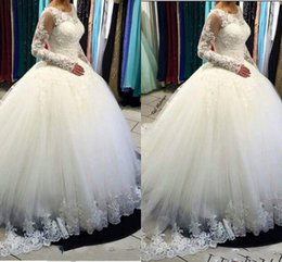 $enCountryForm.capitalKeyWord Canada - 2018 Latest Scoop Neck Ball Gown Wedding Dresses Tulle Satin Lace up Back Appliques Arabic Plus Size Bridal Dresses Wedding Gowns