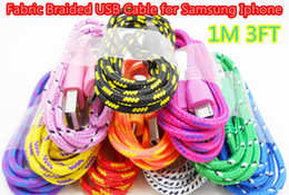 cell phones s3 UK - 1M 3 FT Braided Rounded USB Cable Data Sync Cable Charging Cord for Cell Phone ap 5 6 6 plus Samsung Galaxy S3 S4 S6 Note4 DHL Free