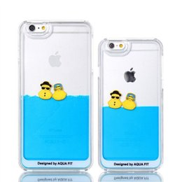 $enCountryForm.capitalKeyWord Canada - New High quality cute Rubber Duck liquid quicksand case cover for iphone 6 5s 5 small Yellow Duck case for iphone 6 Plus