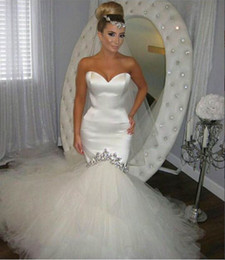 Shop Satin Rhinestone Mermaid Wedding Dress UK | Satin Rhinestone ...