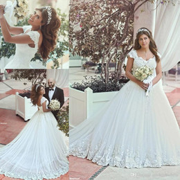 Discount corset wedding dresses - New Vintage Arabic A Line Wedding Dresses V Neck Straps Lace Appliques Beaded Chapel Train Corset Back Cap Sleeves Brida