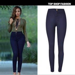 Push Button Fashion Canada - 2016 brand new high waist stretch black skinny jeans women Push up Sexy Hip pantalon femme street fashion thin women pencil pants