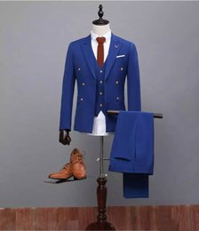 Barato Melhores Ternos Formais Mens-Formal Ocasião Trajes de homem Slim Fit Groom Tuxedos Trajes de casamento Mens 3 Pieces (Jacket + Pant + Vest) Royal Blue Tuits Best Man Tuxedos Gentleman