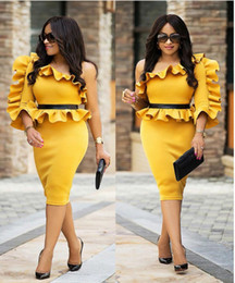 Barato 3d Bodycon Vestidos-One-Shoulder 3D Solid Ruffles Piping Bodycon Dress Long Sleeve Hollow Out Vestidos Charming Skinny Autumn Winter Ladies Evening formal