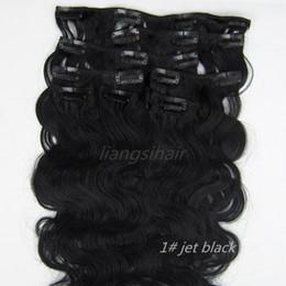 "Human Hair Extensions Jet Black Canada - 7A Clip in Hair Extensions Body Wave Style 18""-26"" 8pcs 1# Jet Black, Brazilian Indian Peruvian Malaysian Virgin Remy Human Hair"