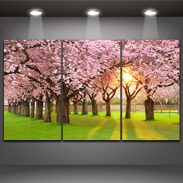 Cherry Blossom Picture Canada - Sakura Tree Cherry Blossom in The Morning Light Beautiful Landscape 3 Panels Oil Painting Print on Canvas for Home Office Hotel Wall Decor
