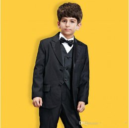 Handsome Kids Suits NZ - 2015 Kids Tuxedo Set Wedding Boys Suits Three Pieces for Handsome Boy Kids Wedding Party