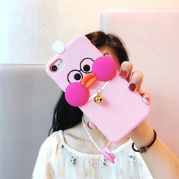 $enCountryForm.capitalKeyWord Canada - Fashion cell phone cover 3D cute Duck Silicone Soft Phone Case Covers with Strap for iPhonex 8 7 6S Plus