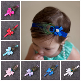 Baby Girls Peacock Headband Canada - 10pcs baby Peacock feathers bow flower Headband for Girl Hair Accessories Infant bows with Rhinestone Hairband Newborn Photo Prop YM6103