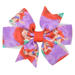 $enCountryForm.capitalKeyWord UK - Duwes 3 .1 ''Ariel Princess Girls Hair Bow With Clip Boutique Printed Ribbon Headwear Fashion Hairgrips Diy Wholesale 20 Piece