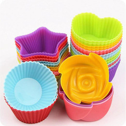 Cupcake Cake Patterns NZ - 4 patterns colorful food grade silicone cake moulds mini cupcake liners cup molds baking moulds pastry tools kitchen DIY Tools
