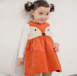 Discount prints color - Girl INS Fashion Princess orange fox dot Dress 2016 new Children Cartoon Print sleeveless Dress Children Clothing B001