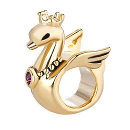$enCountryForm.capitalKeyWord NZ - Big Hole beads cute crystal crown swan lucky European spacer bead metal charm girls bracelets Pandora Chamilia Compatible