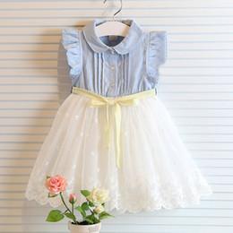 Denim style for babies online shopping - fly sleeve girl summer denim dress for kids jeans tutu dresse cute lace dress with bow dress baby girl vest lace dress children tutu dresses