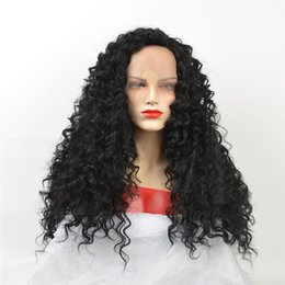 Black Big Curl Wigs Australia - kabell African American fashion Fashion wigs lace front wigs 1# Black curls hair long 24 '' lace front wigs White women Big wave h