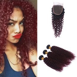 $enCountryForm.capitalKeyWord Australia - Indian Kinky Curly Ombre Red Hair Bundles with Closure 1B 99J Burgundy Ombre Curly Human Hair Weaves with Top Closure