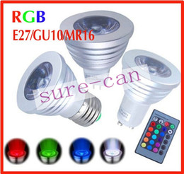 free energy saving bulbs Australia - 50pcs Free Shipping! Factory Directly Sales Energy Saving 3W E27 GU10 MR16 GU5.3 RGB E14 LED Bulb Lamp light 16 Colors changing IR Remote