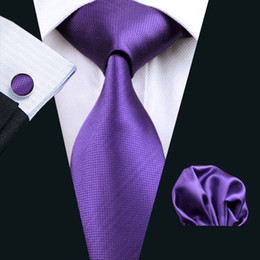 Discount man weave - Solid Purple Mens Tie Set Hanky Cufflinks Set Jacquard Woven Mens Silk Necktie Set Leisure Business Work Formal Wedding