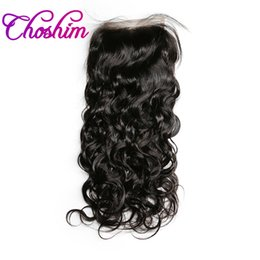 Part Side NZ - Choshim Lace Closure Remy Brazilian Water Wave Human Hair Closure 4 x 4 Middle Part Pre Plucked With Baby Hair Bleached Knots