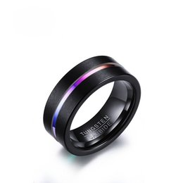 $enCountryForm.capitalKeyWord NZ - Bulk Wholesale Mens Fashion Rings 8MM Wide IP Black Plating Carbide Tungsten Ring EURO-US Popular Dull Polis Multi Color Groove Mens Rings