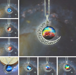 Necklaces Pendants Australia - 2014 Top Sale Moon Necklace Jewelry Colorful Starry Glass Hollow Galaxy Moon Universe Gemstone Pendant Necklaces 925 Silver Chain Mix Style