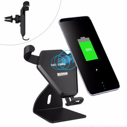 Wholesale QI V Fast Wireless Charger Car Mount Holder Air Vent Stand for iPhone X Samsung Galaxy S6 S7 S8 Plus IN REATIL