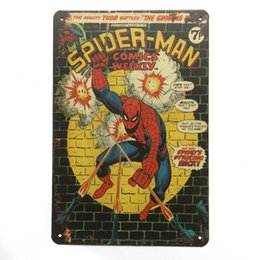 Wholesale Spider Man Super Hero Retro Vintage Metal Tin sign poster for Man Cave Garage shabby chic wall sticker Cafe Bar home decor