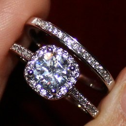 Women's Round Simulated Diamond CZ Silver Filled Engagement Wedding Couple Ring Sets Brand Jewelry