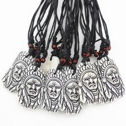 $enCountryForm.capitalKeyWord Canada - Lots Wholesale 12PCS Hand carved Imtation Yak Bone Design tribal head chief Leaders pendant necklace choker gift mn434