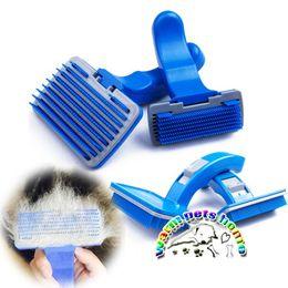 $enCountryForm.capitalKeyWord Canada - Semi-automatic dog shedding comb plastic blue dog grooming comb pet hair brush professional dog grooming supplies