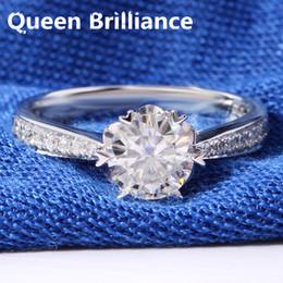 2018 Custom Wedding Rings Women Brilliant 1 Carat F Color Round Cut Lab Grown Moissanite