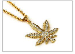 $enCountryForm.capitalKeyWord Canada - wholesale price full leaves maple leaf long statement necklace 18K Plated gold chain men women jewelry hip hop Plant leaves pendant necklace