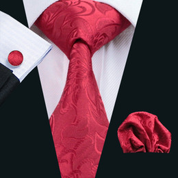 mens ties weddings 2019 - China Red Paisely Tie Hankerchief Cufflinks Set Jacquard Woven Mens Tie Set Business Work Formal Meeting Wedding Leisure