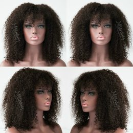 $enCountryForm.capitalKeyWord Australia - Best Short Afro Kinky Curly Wig Virgin Peruvian Lace Front Wig Kinky Curly Glueless Human Hair Full Lace Wig With Bangs Baby Hair