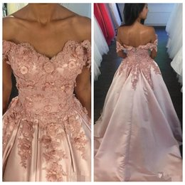 Natural Beauty Pageants Dresses NZ - Beauty Prom Dresses 2018 Off Shoulders Appliques A Line Satin Evening Gowns Lace Up Back Long Sweep Pageant Party Dress