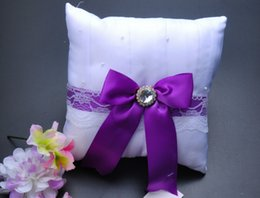 Purple Square Box Canada - Square crystal Rhinestone Bucket Satin With Purple Bow Bridal Ring Bearer Pillow Beaded Wedding Ceremony Favors Box