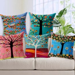 Wholesale Pastoral Flowers Trees Bird Cushion Covers Tropical Plants Green Leaves Cushion Pillow Cover Sofa Linen Cotton Pillow Case Sofa Decor