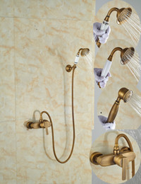 $enCountryForm.capitalKeyWord Canada - Wholesale And Retail Promotion Single Handle Antique Brass Bathroom Tub Faucet Valve Mixer Tap W  Hand Shower Sprayer