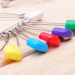 baby diaper safety pins UK - 500pcs lot Baby Safety Pins 4CM Child Safe Cloth Nappy Diaper Craft Pin Locking Colorful White Red Green Blue Pink Wholesale