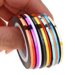 Barato Jogo Do Prego Adesivo-10pcs / pack 2mm Mix Colors Rolls Metallic Adhesive Striping Tape Wide Line DIY Nail Art Tips Strip Sticker Decal Decoration Kit