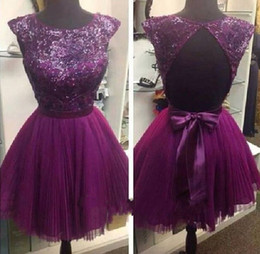 $enCountryForm.capitalKeyWord Canada - Charming Sexy A Line Short Purple Prom Dresses Sleeveless Crew Cut Out Back Sheer Bling Sequin Bridesmaid Dress Chiffon Evening Gowns