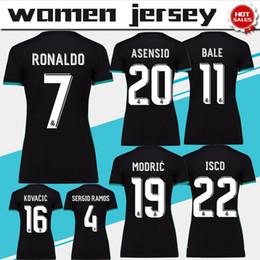 b554b89e71a Women real madrid away black Soccer Jersey 17 18 real madrid female Soccer  Shirt 2018 Customized  7 RONALDO ISCO girl football uniform Sales