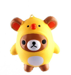 ChiCken handbag online shopping - Novelty Squishy Kawaii Bear Chicken Slow Rising Toys Pendant Phone Straps Charms Kid Toys Cute Squishies Phone Charms Handbag Ring cm