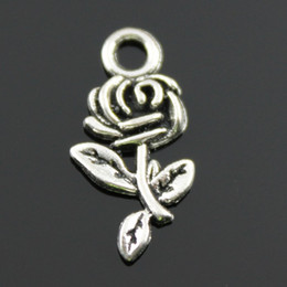 $enCountryForm.capitalKeyWord NZ - 100pcs lot 21mm antique bronze, antique silver plated rose flower charms DIY for handmade