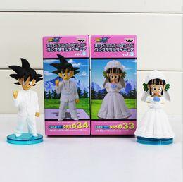 $enCountryForm.capitalKeyWord NZ - Anime DRAGON BALL Movie WCF DWC7 Son Goku ChiChi Wedding scene PVC Action Figure free shipping EMS