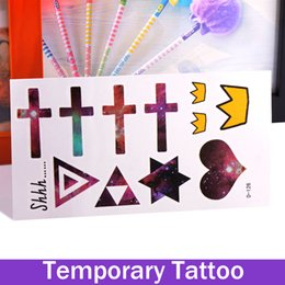 Mode De Tatouage Croisé Pas Cher-Mode Body Art amovible imperméable tatouage temporaire autocollants Love Cross The Triangle Bijoux